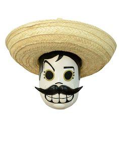 Halloween - Dìa de los muertos Maske für Erwachsene: Dieses Latexmaske im Dìa de los muertos Stil ist Hand bemalt (Hut ist nciht im Lieferumfang enthalten)Die Maske ist ideal geeignet für Halloweenpartys im Dìa de los muertos Motto!...