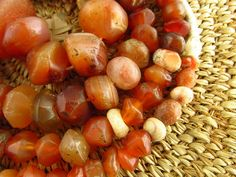 This beautiful strand is made up mainly of carnelian but also includes a couple jasper and agate beads. They were made into beads in India with
