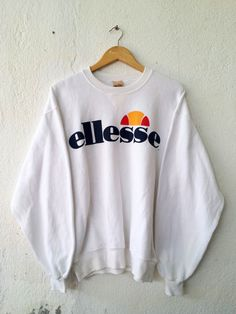Vintage  90's Rare ELLESSE Sport Tennis Brand Athletic Sweatshirt with Big Spell Out Printed Sweater Jumper Pullover hip Hop Size M VSS375 by fiestorevintage on Etsy