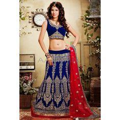 Blue Velvet #Lehenga Choli With Dupatta #IndianLehenga #WomenClothing #EthnicWear #WomenWear #WomenFashion