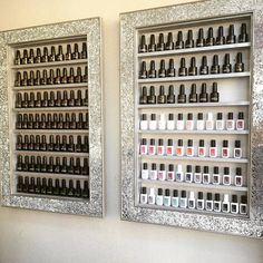 Mosaic Mirror framed display rack for beauty products- will hold approx 85-95 bottles size : 61cms x 90 cms shelf height 9.4 shelf depth 4cms This for one frame only This is a one off peice from our new range of mirror framed display frames – what a stunning addition to your