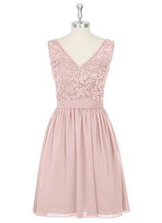 Dusty rose, lace, chiffon bridesmaid dress
