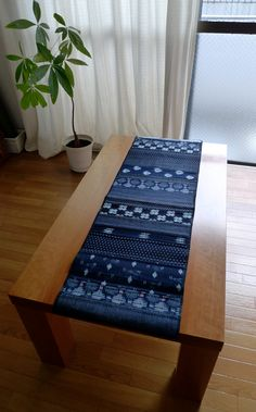 Vintage Indigo Patchwork Table Runner - Short Length. $40.00, via Etsy.