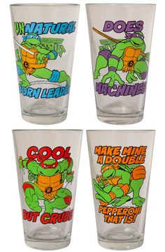 TMNT Character Pint Glasses: Great For Pizza Parties!