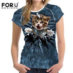2101656c68f18 FORUDESIGNS Cute 3D Animal Denim Cat T Shirt for Women Personalized Female  Short Sleeve Tee Tops Casual Ladies Slim T-shirt