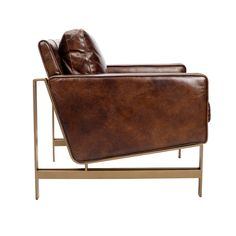 Tanner Brown Leather Contemporary Club Chair on Brass Base Formal Living Rooms, Living Room Sets, Living Room Chairs, Brown And Blue Living Room, Leather Club Chairs, Brass, Furniture Ideas, Furniture Design, Brown Leather
