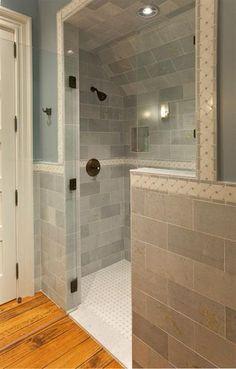 Bathroom with walk-in shower, tiled walls and glass shower door   Phillip W Smith portfolio