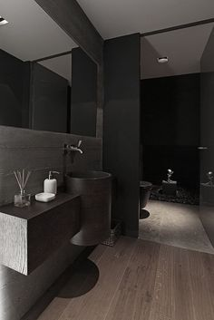 Interior, Black Bathroom Design Ideas Stainless Faucet Wooden Flooring Mirror Small Bathroom Design Bathroom Design Gallery Bathroom Home De...