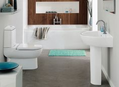 Wood, white w/ gray floors  Spacious Clean White Bathroom Brown Wood On Wall Blue Vase Tasteful Design Ideas listed in: eat Smart Bathroom Scale, smart Bathroom and sma...