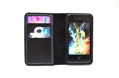 iPhone 4 Wallet Case with Bumper attachment by leathermix on Etsy, $39.00