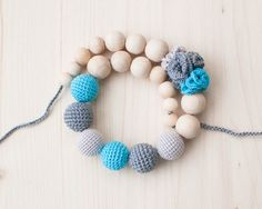 Crochet and Wood Bead Necklace great for nursing moms.