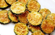 """Zucchini Crisps ~ 2 med Zucchini,1 T Olive Oil, *1/4 c grated Parmesan, *1/4 c plain dry Bread Crumbs, *Salt & Pepper. Oven 450. Spray sheet. Slice zucchini into 1/4"""" thick rounds, toss w/oil. Mix *. Dip each round into mix, coat evenly on both sides, place in single layer. Bake rounds until browned & crisp, 25-30 min."""
