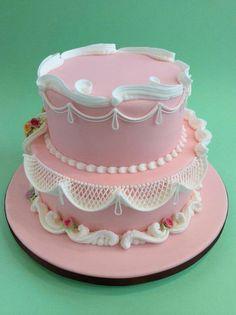 bolo decorado glace rosa Bolo decorado com glacê