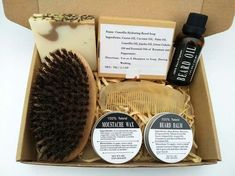 Natural #beard  Care Gift Set with Comb Leave-In Beard Oil Balm and Wax for Men's #grooming