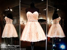 Coral and Ivory Lace Strapless Short Homecoming Dress-Sweetheart-Pearls and Rhinestones-115HS0270200