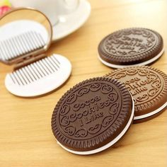 1 PCS Portable Cute Chocolate Cookie Shape Cosmetic Mirror Makeup Chocolate Comb Lady Girl