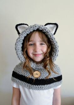 This wolf hat is a must have for winter and fall seasons. The hat part of this hoodie keeps those little heads and ears warm while the cowl/scarf