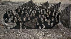Beached Whale by Ida Bagus Rai -  Sanur, Bali, Indonesia - Ink wash on canvas - Circa 1970s