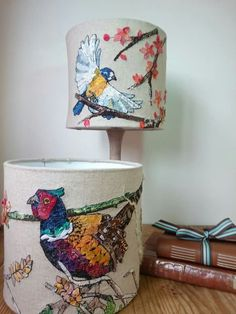 Beautiful Lamp shades Free Motion Embroidery, Free Machine Embroidery, Handmade Lampshades, Lampshade Designs, Homemade Home Decor, Origami, Idee Diy, Crafty Craft, Fabric Art