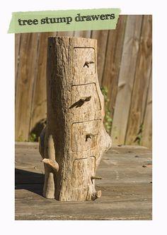 DIY tree stump drawers.