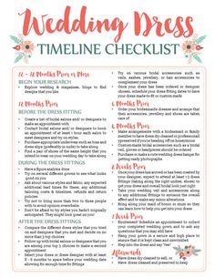 this free wedding dress planning timeline printable is a cute checklist and printable worksheet to add