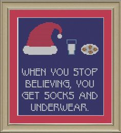 When you stop believing funny Christmas by nerdylittlestitcher, $3.00