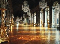 The Hall of Mirrors in the Palace of Versailles, France. Enjoyed this sojourn with friends on a spring break trip in college. It was my trip to Europe. We especially loved the hameaux on the grounds where Marie Antoinette romanticized peasant life. Versailles Hall Of Mirrors, Chateau Versailles, Palace Of Versailles, Visit Versailles, Beautiful Castles, Beautiful Places, Jules Hardouin Mansart, Paris, Art Français
