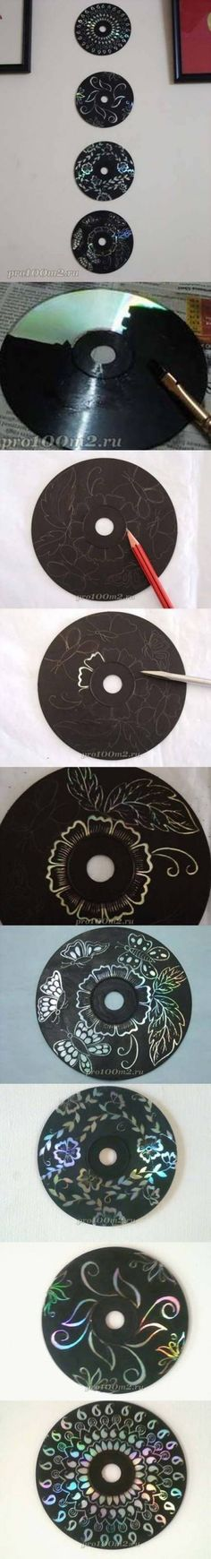 Paint an old cd with black paint, draw a cool design in pencil, then carve it out.