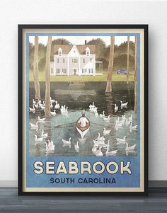 I fell in love with the swan lake scene in The Notebook, and that is what inspired me to create this retro travel poster of Seabrook, South
