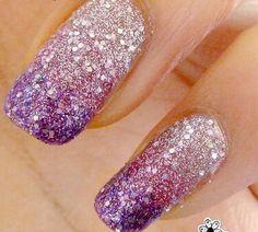 Purple gradiant glitter nails