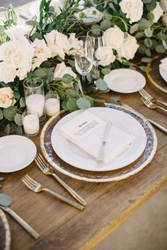 The ultimate rustic chic place setting. Check out this stunning Tessa Lyn Events at Malibu Rocky Oaks on Inside Weddings!  Planning by Tessa Lyn Events Photo by Hugh Fort Floral by Butterfly Flora  Hammered Glass Charger with Gold Rim    Photography: Hugh Forte   Read More:  http://www.insideweddings.com/weddings/gorgeous-alfresco-wedding-with-stunning-mountain-views-in-malibu/966/