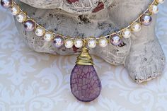 Pink and Purple Pearl Necklace - Purple Dragon's Vein Agate Pearl Necklace - Pink and Purple Collar Bone Necklace - Pearl Bridal Necklace
