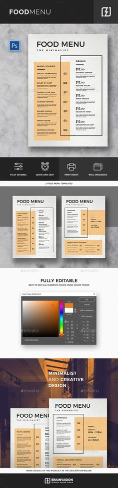 Minimal #Food #Menu Template - Food Menus Print Templates Download here: https://graphicriver.net/item/minimal-food-menu-template/20014433?ref=alena994