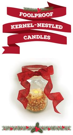 6 holiday decorations that really pop | easy DIY popcorn decorations | This holiday season, pull that extra bag of popcorn out of your pantry and transform your kernels into easy holiday decorations! | can't go wrong with ribbon, candles & mason jars!