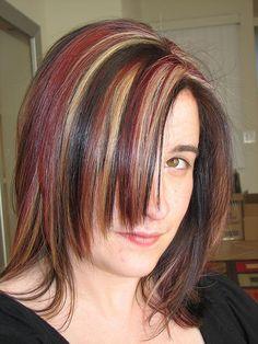 brown, red, blonde highlights