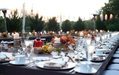 Wedding dinner in the backyard