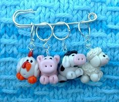 Farm Animal Mix knitting or crochet stitch markers by TheClaySheep, $16.00