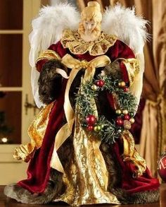 Porcelain Angel Tree Topper in Burgundy and Gold | Shop home, interior_design| Kaboodle Christmas Tree Toppers, Christmas Angels, Christmas Holidays, Christmas Crafts, Christmas Decorations, Xmas, Christmas Trees, Angels In Heaven, Heavenly Angels