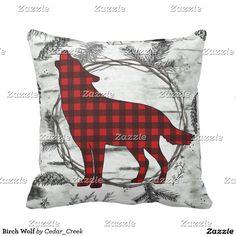 Birch Wolf Throw Pillow