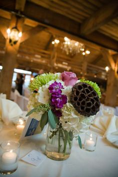 Rustic Chic Wedding Flowers - love the idea of mixing dried with fresh!