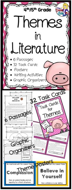 Updated! This 71 page theme set will give students plenty of reading practice identifying themes. Includes 6 literature passages (front and back with many paired passages) including Aesop's Fables, Folktales from Around the World, Legends and Myths, a set of 32 theme task cards, handouts, graphic organizers, a picture book list and 20 common theme posters. (TpT Resource)