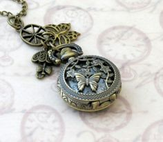 Small Antique Brass Pocket Watch Pendant Necklace WP1210 | DesignsForAnAngel - Jewelry on ArtFire