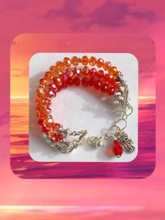 Ombré Orange & Red Crystal Multi -Tiered Bracelet, Ombré Accessories, Orange Jewelry, Handmade Gift, For Her, Birthday Gift, Friendship Gift by Creationlily on Etsy https://www.etsy.com/listing/241766545/ombre-orange-red-crystal-multi-tiered