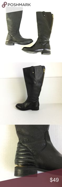 "Steve Madden Leather Heel Tall Riding Style Boot Step out in style! - Round toe - Riding Style  - 1"" heel -side zip  Excellent preowned condition. No rips or holes.  Please checkout my boutique for more trendy fashion. Steve Madden Shoes Winter & Rain Boots"
