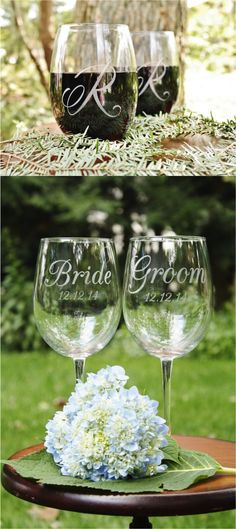 Beautifully engraved wine glasses will remind you of your special day for years to come.   Made on Hatch.co