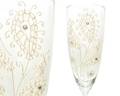 Wedding Champagne Flutes White Paisley Mod Wedding by decouverre, $60.00
