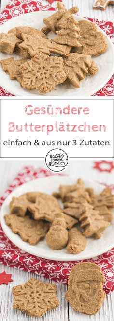 Kekse aus nur 3 Zutaten – super leckeres und leichtes Rezept für vollwertige un… Cookies from only 3 ingredients – super delicious and easy recipe for wholesome and healthy Christmas cookies. The cookies also comply with the Clean Baking principle. Healthy Christmas Cookies, Vegan Christmas, Healthy Cookies, Holiday Cookies, Christmas Recipes, Baby Food Recipes, Cookie Recipes, Cake Ingredients, Low Carb Desserts