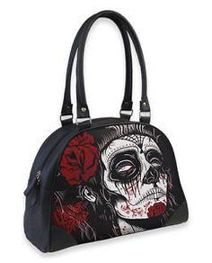TATTOO GYPSY SUGAR DEAD GIRL SKULL ROSE BOWLER BAG HANDBAG LIQUOR BRAND GOTH | eBay