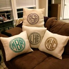 Hey, I found this really awesome Etsy listing at http://www.etsy.com/listing/166786488/monogrammed-burlap-pillow