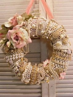 Shabby Chic   Romantic Wreath   Use Year Round Or During Pink Christmas   The Pearls, Bling & Flowers Are Stunning #shabbychicpink